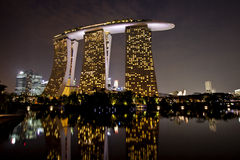 Marina bay sands hotel in dusk Royalty Free Stock Images