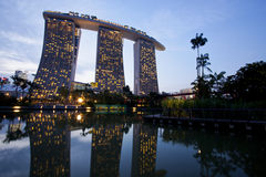 Marina bay sands hotel in dusk Royalty Free Stock Image