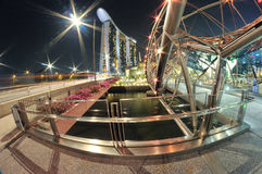 Marina Bay Sands Hotel and Helix Bridge Royalty Free Stock Photo