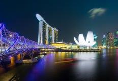 Marina Bay Sands hotel with Helix Bridge Royalty Free Stock Images