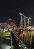 Marina Bay Sands Hotel and Helix Bridge in Singapore Royalty Free Stock Photography