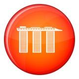 Marina Bay Sands Hotel, icône de Singapour, style plat Images stock