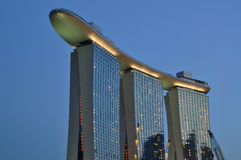 Marina Bay Sands Hotel and Integrated Resort. A photo of the Marina Bay Sands Hotel and Integrated Resort taken during the blue hour Stock Image
