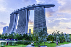 Marina Bay Sands Hotel. Marina Bay Sands is an integrated resort fronting Marina Bay in Singapore. Developed by Las Vegas Sands (LVS), it is billed as the world' Royalty Free Stock Photography