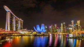 Marina Bay Sands Hotel la nuit, Singapour Image stock