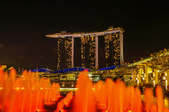 Marina Bay Sands Hotel with light fountains in foreground Royalty Free Stock Image