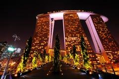 Marina Bay Sands. Hotel at night Stock Image