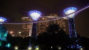 Marina Bay Sands Hotel and the OCBC Skyway in Supertree Grove Singapore