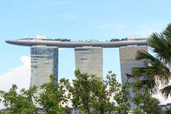 Marina Bay Sands hotel and palm trees, Singapore Royalty Free Stock Photos