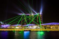 Marina Bay Sands Hotel pendant une exposition de multimédia Images libres de droits