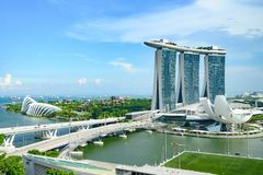 Marina Bay Sands Hotel, Singapore. Aerial view of Marina Sands luxury Hotel, ArtSience Museum and Marina Bay floating platform. Las Vegas Sands build this luxury stock image