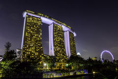 Marina Bay Sands Hotel and Singapore Flyer Stock Image