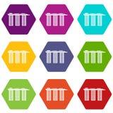 Marina Bay Sands Hotel, Singapore icon set color hexahedron. Marina Bay Sands Hotel, Singapore icon set many color hexahedron isolated on white vector royalty free illustration