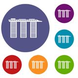 Marina Bay Sands Hotel, Singapore icons set. In flat circle reb, blue and green color for web vector illustration