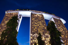 Marina Bay Sands Hotel. Singapore - July 9: Marina Bay Sands Hotel at night, 9 July 2013 royalty free stock photography