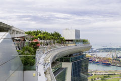 Marina Bay Sands Hotel stunning Sands SkyPark Infinity Pool located 57 storeys above the ground in SIngapore Stock Photo