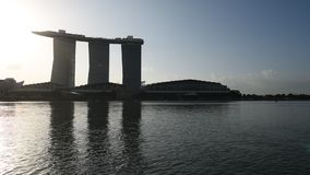 Marina Bay Sands Hotel sunrise stock footage