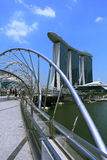 Marina bay sands hotel in the sunshine. Singapore. shot at helix bridge Stock Image