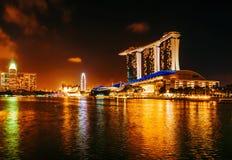 Marina Bay Sands Hotel- und Kasinonacht stockbild