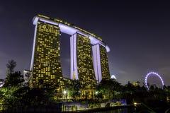 Marina Bay Sands Hotel und Singapur-Flieger stockbild
