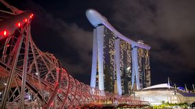Marina Bay Sands Hotel view from Helix bridge royalty free stock photography