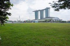 Marina Bay Sands hotellsikt Singapore 15 December 2017 Arkivbilder