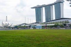Marina Bay Sands hotellsikt Singapore 15 December 2017 Arkivbild