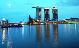 Marina Bay Sands Integrated Resort, Moonlit Stock Image