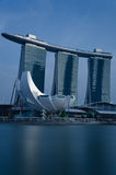 Marina Bay Sands Integrated Resort and Waterfront. A cool blue rendition of the Marina Bay Sands and lotus-shaped ArtScience Museum fronting Marina Bay in Stock Images
