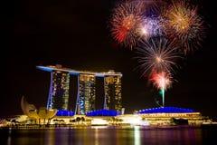 Marina Bay Sands la nuit pendant le ` d'exposition de lumière et d'eau se demandent F Photographie stock