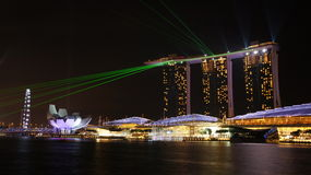 Marina Bay Sands Laser Light show 01 Royaltyfria Foton