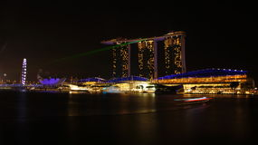 The Marina Bay Sands - Laser Light Show Royalty Free Stock Photos