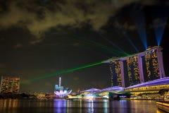 Marina Bay Sands Laser Show Photographie stock libre de droits