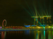 Marina Bay Sands with laser show Stock Images
