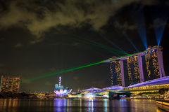 Marina Bay Sands Laser Show Royalty Free Stock Photography