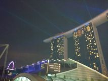 Marina Bay Sands with lasers Stock Images