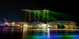 Marina Bay Sands Light Show Fotos de archivo