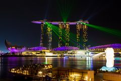 Marina Bay Sands Light Show Royalty Free Stock Image