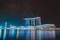 Marina Bay Sands Light and sound show at night time stock photos