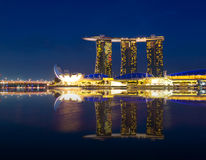Marina Bay Sands with Lotus Architecture at twilight time Stock Photography