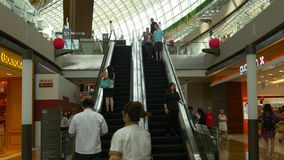 Marina bay sands mall escalator up ride view singapore. Singapore marina bay sands mall escalator up ride view stock video