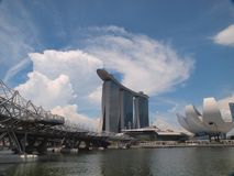 Marina Bay Sands (MBS). MBS Integrated Resort & Arts Science Museum against beautiful sky Royalty Free Stock Image