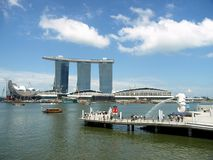 Marina Bay Sands & Merlion, Singapore. Photo is ideal for magazines/books/news promoting tourism in Singapore Royalty Free Stock Photography