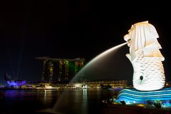 Marina Bay Sands and Merlion Stock Photos