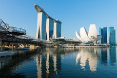 Marina Bay Sands and modern Helix bridge Stock Images