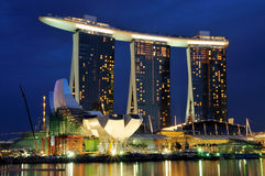 Marina Bay Sands at Night Stock Photography