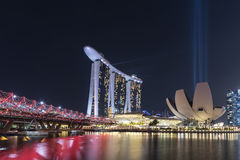 Marina Bay Sands at night with Light and Water Show Royalty Free Stock Photo
