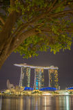 Marina Bay Sands at night during Light and Water Show Royalty Free Stock Photos