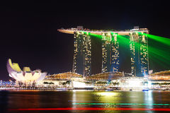 Marina Bay Sands at night during Light and Water Show 'Wonder Full' . Royalty Free Stock Photography