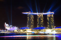 Marina Bay Sands at night during Light and Water Show 'Wonder Full' . Stock Photography